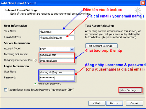 Huong dan khai bao mail SGC Go trong Microsoft Outlook 2007